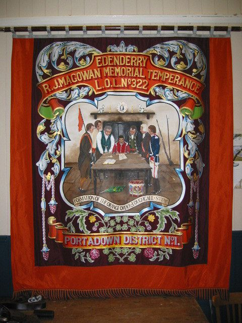 Front of Edenderry LOL 322 banner painted by lodge member Bro. Jim Edgar