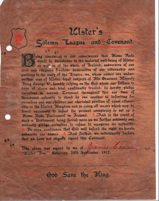 Ulster Covenant signed by Bro. James Connolly