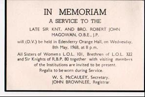 Memorial card for Bro. R.J. Magowan