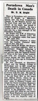 Obituary for Major David Mussen Bright, Portadown Times 15 March 1940