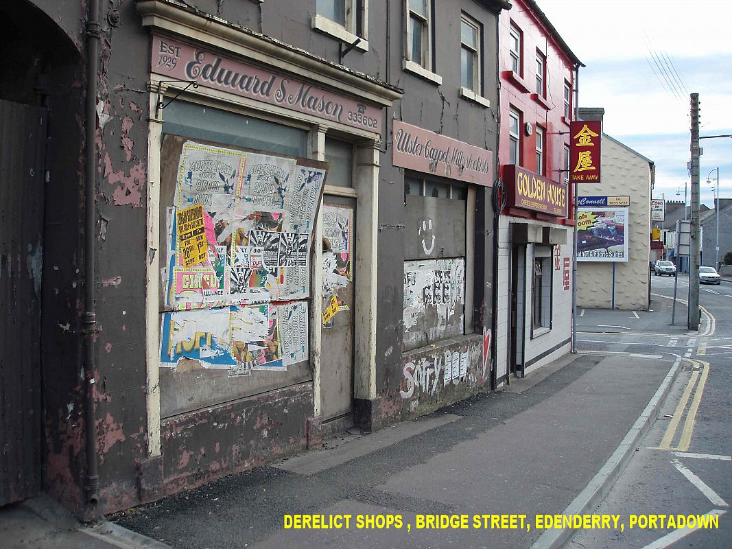 Derelict shops Bridge Street in the centre of Edenderry